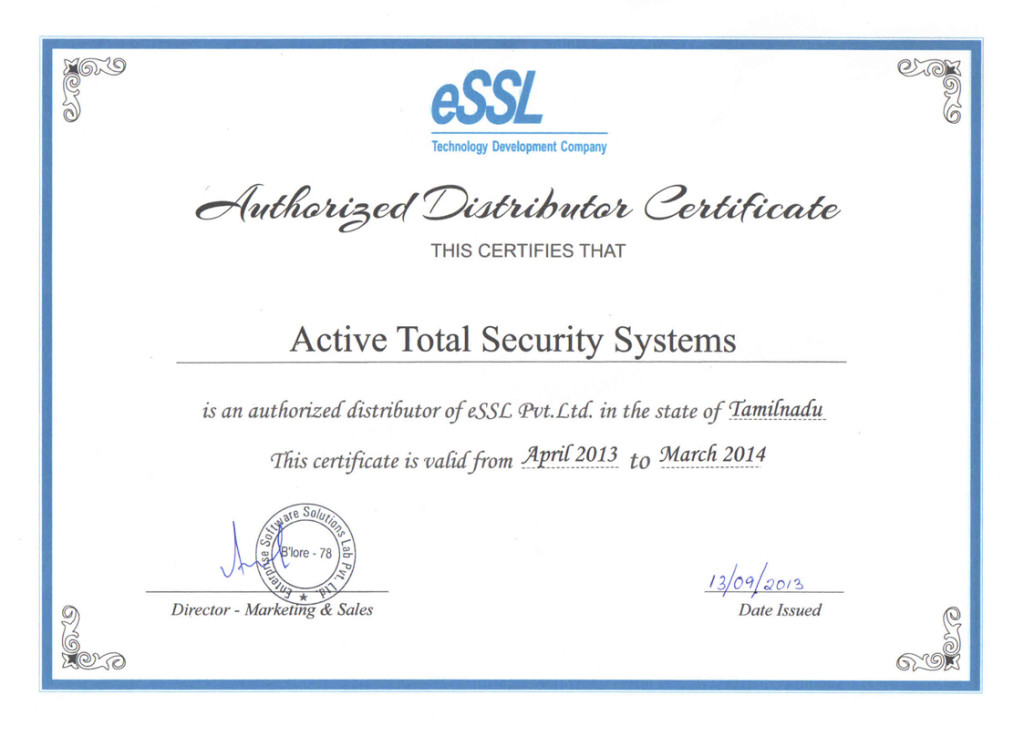 Atss authorized distributor for essl for Fire alarm installation certificate template